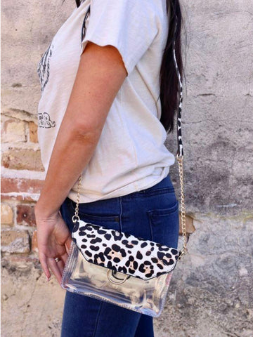 Bag - Tailgate Clear Crossbody leopard  5x8 inches