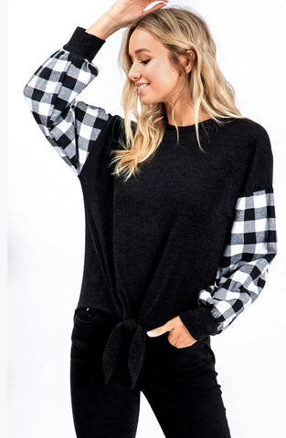 Blouse - black round neck front tie detail puff long buffalo plaid sleeves