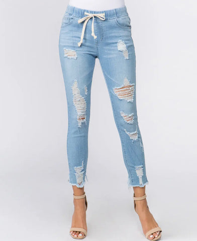 Jeans - Distressed Skinny Denim Joggers