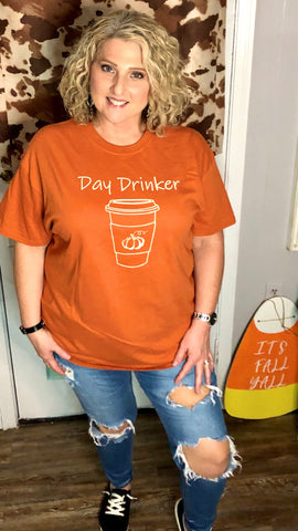 T-Shirt - Day Drinker Fall T, Burnt Orange
