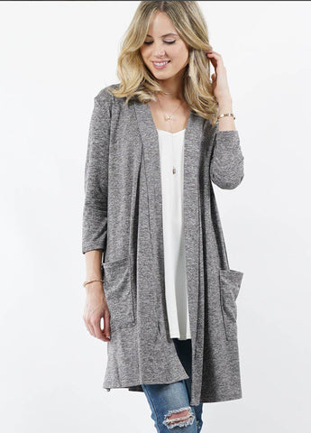 Outerwear - Cardigan, Slouchy Pockets, Heather Charcoal