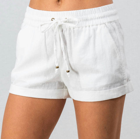 Shorts - linen blend, tie drawstring waist, white