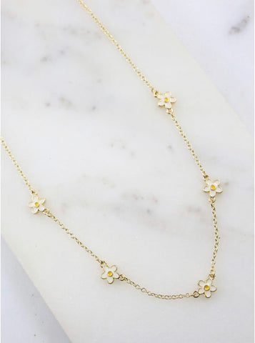 Necklace - Frasier With Daisy Accents Gold