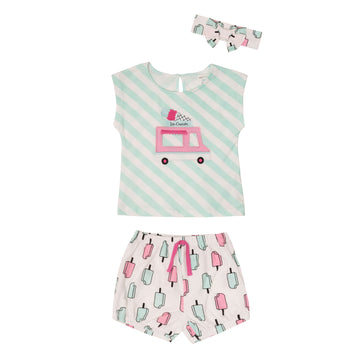 """Ice Cream"" Outfit Set (3Pc)"