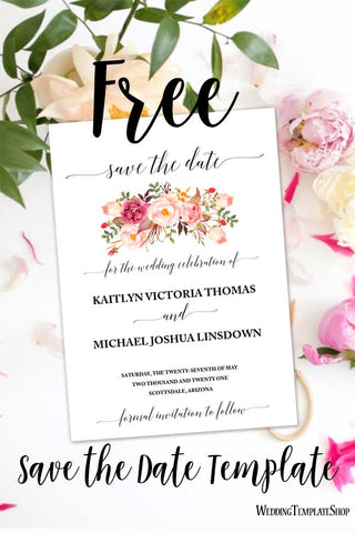 Free Wedding Save the Date Template