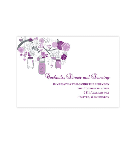 Wedding Reception Invitations Rustic Mason Jars Plum Purple Lavender Printable DIY Templates
