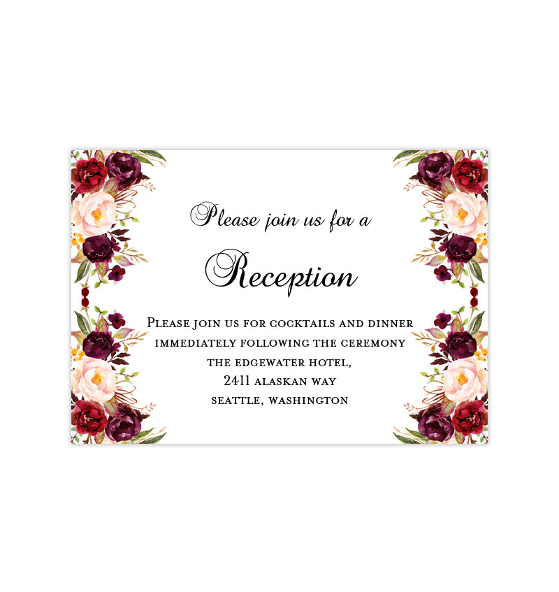 Red And Pink Wedding Invitations: Wedding Reception Invitations Burgundy, Red, Blush Pink