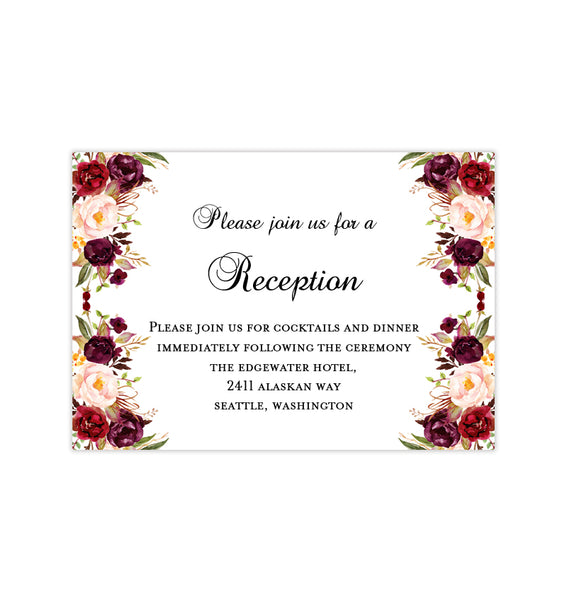 Places To Print Wedding Invitations: Wedding Reception Invitations Burgundy, Red, Blush Pink