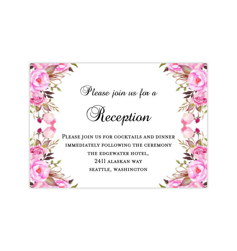 Wedding Reception Invitations Pink Romantic Blossoms Diy Printable