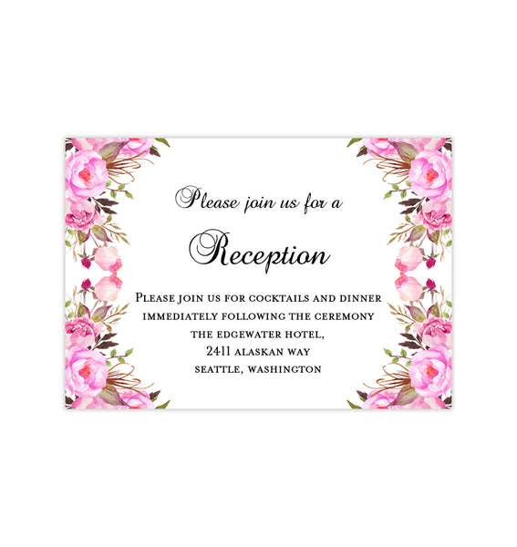 Wedding Reception Invitations Pink Romantic Blossoms DIY Printable Template