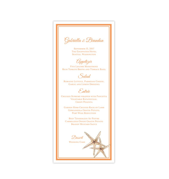 Wedding Menu Card Beach Starfish Orange Tea Length Printable DIY Template