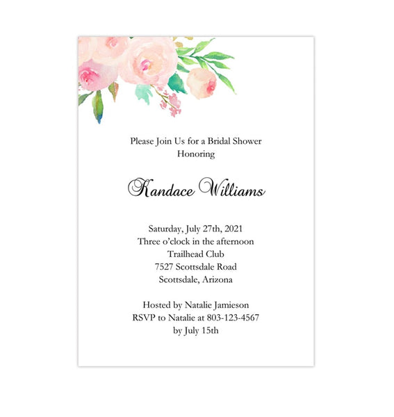 Bridal Shower Invitation Template Watercolor Floral 3 Printable DIY Printable
