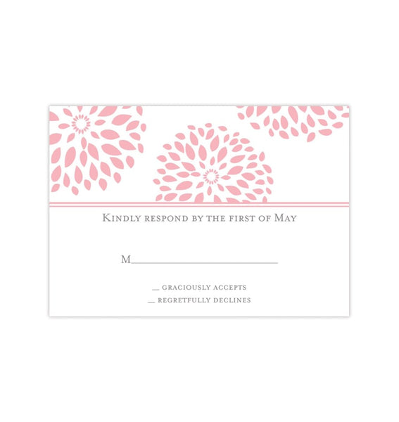 Wedding Response Cards Floral Petals Blush Pink Printable DIY Templates