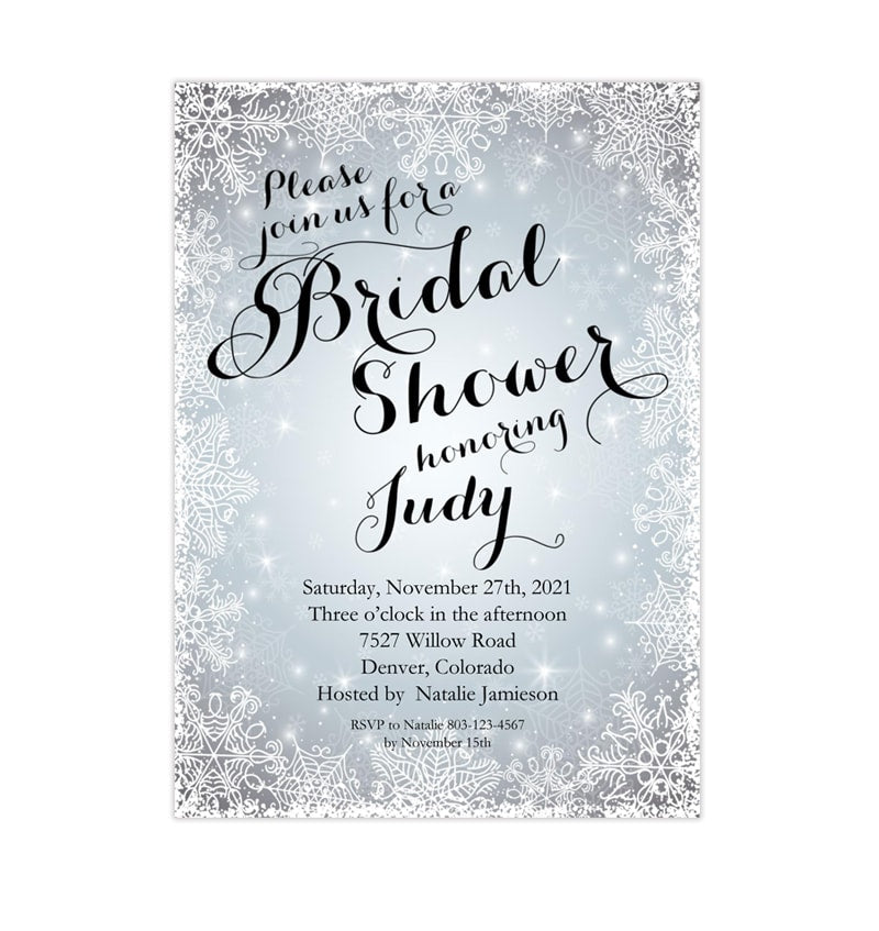 snowflake bridal shower invitation winter silver white printable diy template