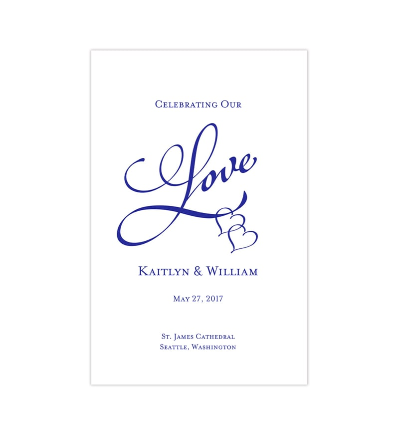 Wedding Program Template Two Hearts One Love Royal Blue