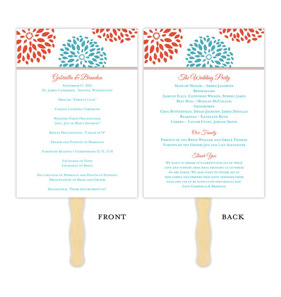 Wedding Program Fan Floral Petals Coral Turquoise Printable DIY Template