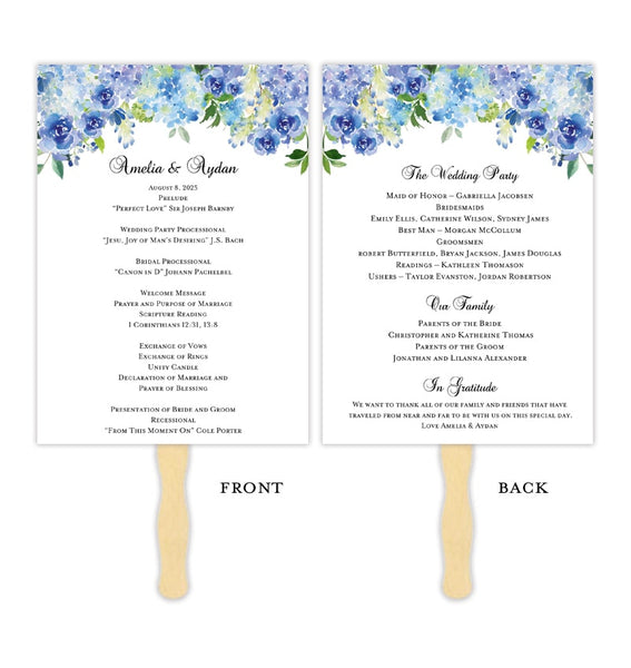 Wedding Program Fan Amelia Blue Roses & Hydrangea DIY Printable DIY Template