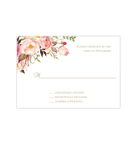 Wedding Response Cards Romantic Blossoms DIY Printable Template