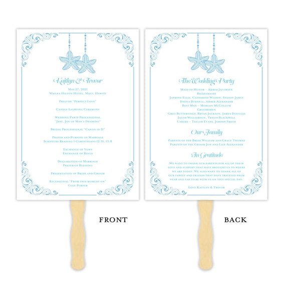 Wedding Program Fan Love on the Beach Malibu Blue Printable DIY Templates