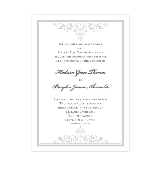 Vintage Wedding Invitation Silver Light Gray Printable DIY Templates