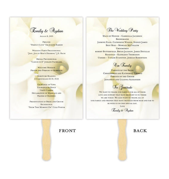 Wedding Program Fan Calla Lily Printable DIY Template