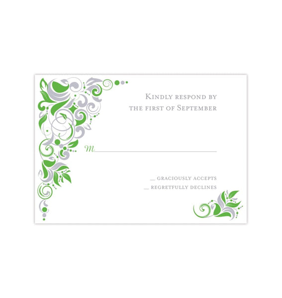 Wedding Response Cards Gianna Kelly Green Silver Printable DIY Templates