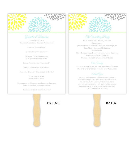 Wedding Program Fan Floral Petals Turquoise Yellow Gray Printable DIY Template
