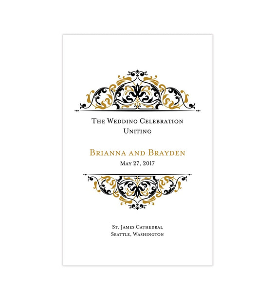 Wedding Program Template Grace Gold Black Printable DIY Templates