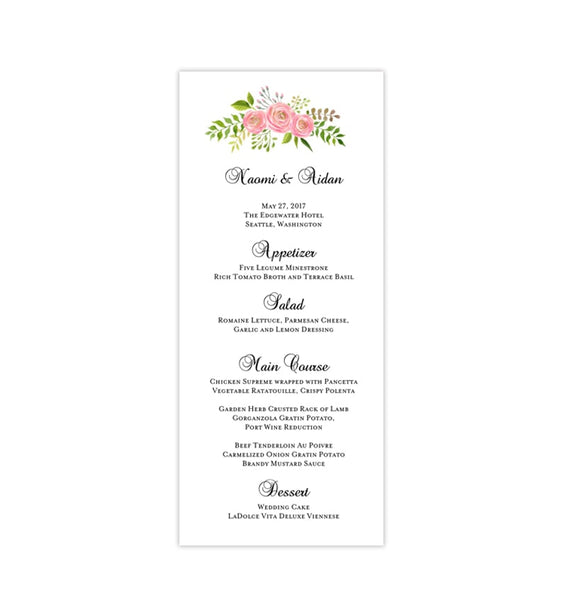 Wedding Menu Card Floral 7 Pink Tea Length Printable DIY Templates