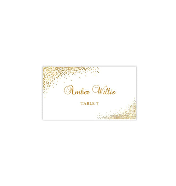 Wedding Seating Card Confetti Gold Gold Tent Printable DIY Templates
