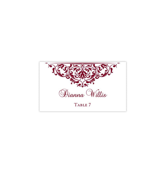Printable Wedding Place Cards Grace Burgundy Flat Printable DIY Place Template