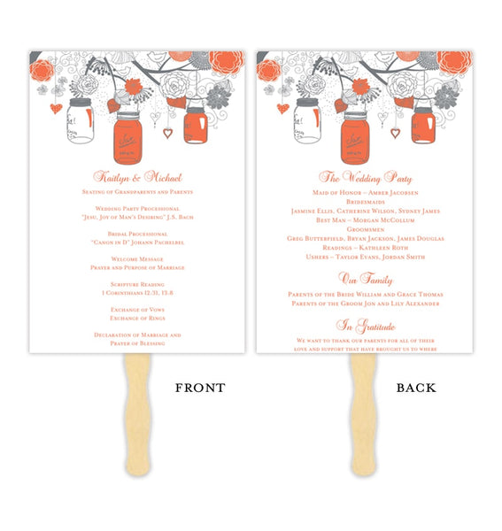 Wedding Program Fan Rustic Mason Jars Coral Gray Printable DIY Templates