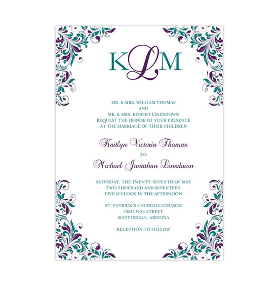 Kaitlyn Wedding Invitation Peacock Purple Teal Printable DIY Templates