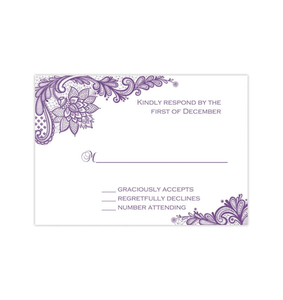 Wedding Response Cards Vintage Lace Purple Printable DIY Templates