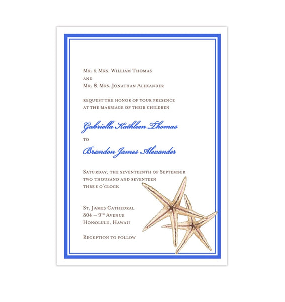 Beach Starfish Wedding Invitation Royal Blue Tropical Destination DIY