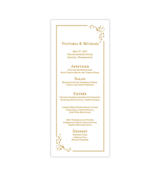 Wedding Menu Card Elegance Gold Tea Length Printable DIY Templates