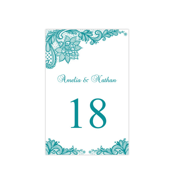 Wedding Table Number Template Vintage Lace Teal Blue Green Flat