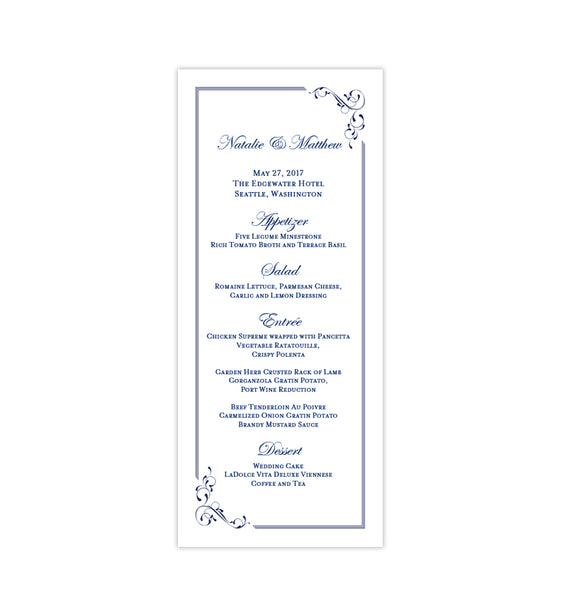 Wedding Menu Card Elegance Navy Blue Tea Length Printable DIY Templates