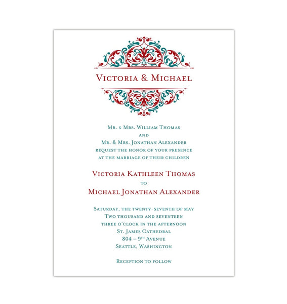 Grace Wedding Invitation Red Teal Printable DIY Template