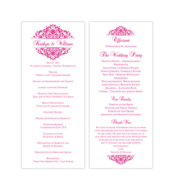 Slim Wedding Program Grace Hot Pink Printable DIY Templates