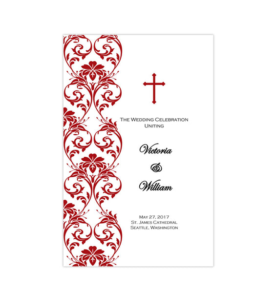 Catholic Church Wedding Program Damask Red Printable DIY
