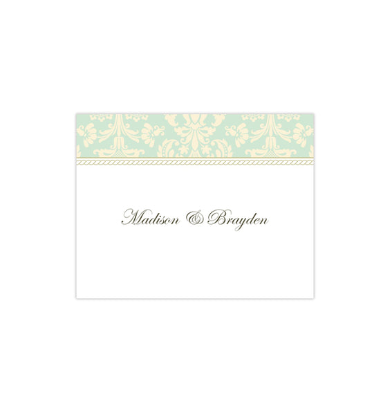 Wedding Thank You Card Damask Mint Green Champagne Printable DIY Template