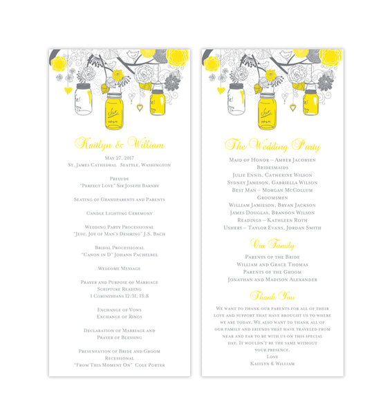 Slim Wedding Program Rustic Mason Jars Yellow Gray Printable DIY