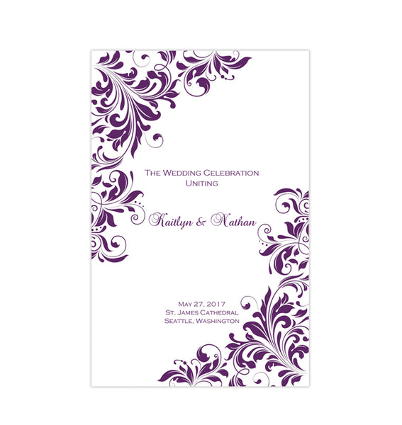 Wedding Program Template Kaitlyn Purple Printable DIY