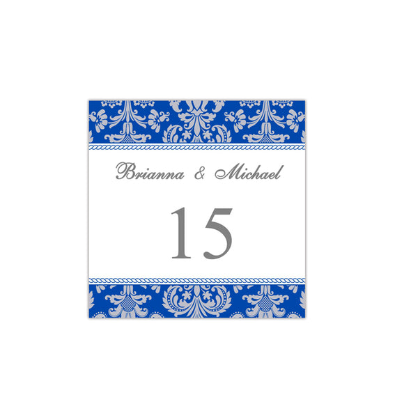 Printable Table Number Template Damask Cobalt Blue Gray Tent DIY Wedding Templates