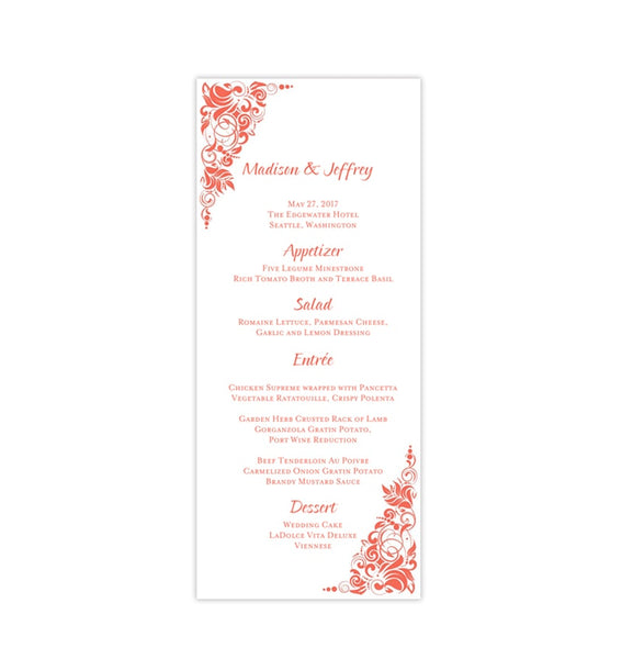 Wedding Menu Card Gianna Coral Orange Tea Length Printable Templates