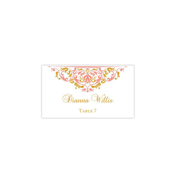Wedding Seating Card Grace Coral Gold Tent Printable DIY Place Template