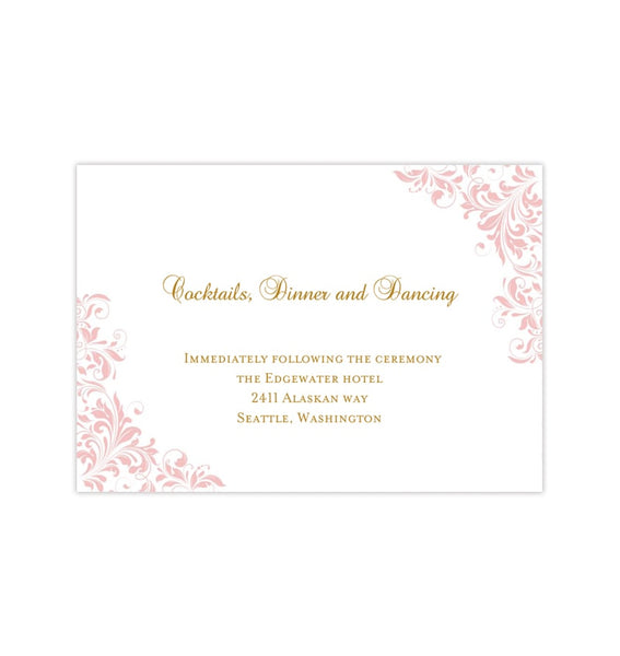 Wedding Reception Invitations Kaitlyn Blush Pink Gold Printable Templates