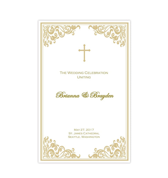 Catholic Church Wedding Program Faith Champagne Gold Printable DIY