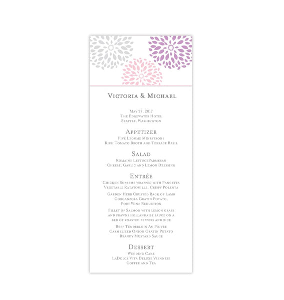 Wedding Menu Card Floral Petals Blush Lavender Silver Tea Length Printable Template